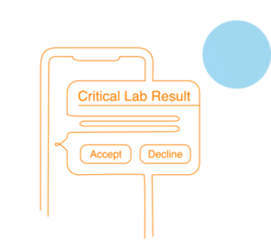 critical lab result graphic with accept and decline button