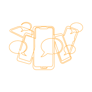 Group of phones and text bubbles